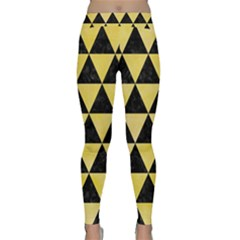 Triangle3 Black Marble & Yellow Watercolor Classic Yoga Leggings