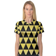Triangle3 Black Marble & Yellow Watercolor V Neck Sport Mesh Tee