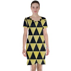 Triangle3 Black Marble & Yellow Watercolor Short Sleeve Nightdress
