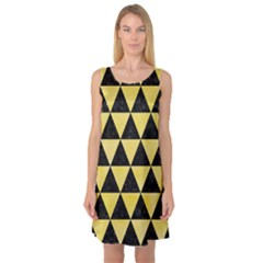 Triangle3 Black Marble & Yellow Watercolor Sleeveless Satin Nightdress