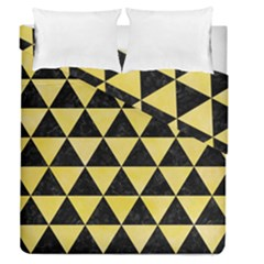 Triangle3 Black Marble & Yellow Watercolor Duvet Cover Double Side (queen Size)