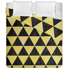 Triangle3 Black Marble & Yellow Watercolor Duvet Cover Double Side (california King Size)