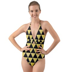 Triangle3 Black Marble & Yellow Watercolor Halter Cut Out One Piece Swimsuit