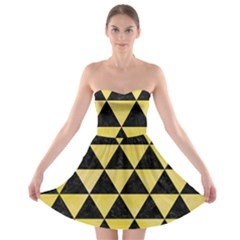 Triangle3 Black Marble & Yellow Watercolor Strapless Bra Top Dress