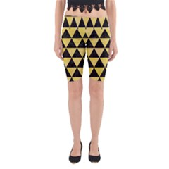 Triangle3 Black Marble & Yellow Watercolor Yoga Cropped Leggings