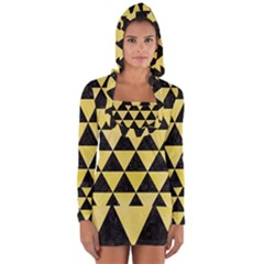 Triangle3 Black Marble & Yellow Watercolor Long Sleeve Hooded T Shirt