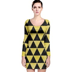 Triangle3 Black Marble & Yellow Watercolor Long Sleeve Velvet Bodycon Dress
