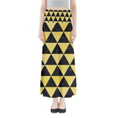 Triangle3 Black Marble & Yellow Watercolor Full Length Maxi Skirt