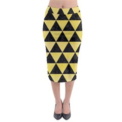 Triangle3 Black Marble & Yellow Watercolor Midi Pencil Skirt