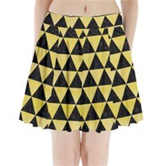 Triangle3 Black Marble & Yellow Watercolor Pleated Mini Skirt