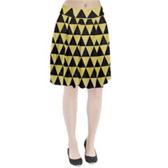 Triangle3 Black Marble & Yellow Watercolor Pleated Skirt