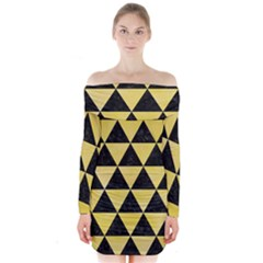 Triangle3 Black Marble & Yellow Watercolor Long Sleeve Off Shoulder Dress