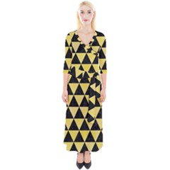 Triangle3 Black Marble & Yellow Watercolor Quarter Sleeve Wrap Maxi Dress