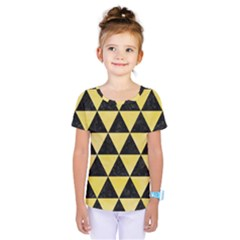Triangle3 Black Marble & Yellow Watercolor Kids  One Piece Tee