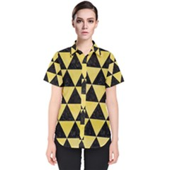 Triangle3 Black Marble & Yellow Watercolor Women s Short Sleeve Shirt