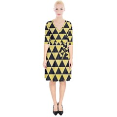 Triangle3 Black Marble & Yellow Watercolor Wrap Up Cocktail Dress