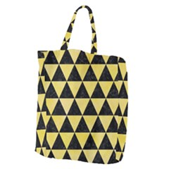 Triangle3 Black Marble & Yellow Watercolor Giant Grocery Zipper Tote
