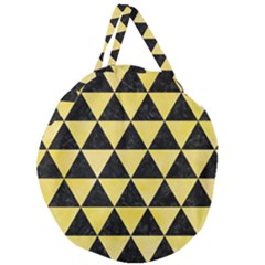 Triangle3 Black Marble & Yellow Watercolor Giant Round Zipper Tote