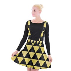 Triangle3 Black Marble & Yellow Watercolor Suspender Skater Skirt
