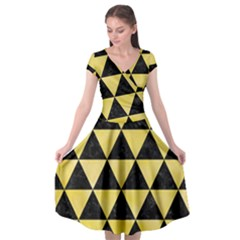 Triangle3 Black Marble & Yellow Watercolor Cap Sleeve Wrap Front Dress