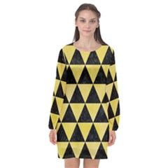 Triangle3 Black Marble & Yellow Watercolor Long Sleeve Chiffon Shift Dress