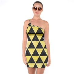 Triangle3 Black Marble & Yellow Watercolor One Soulder Bodycon Dress