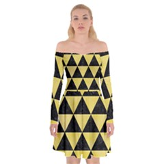 Triangle3 Black Marble & Yellow Watercolor Off Shoulder Skater Dress