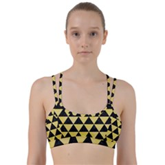 Triangle3 Black Marble & Yellow Watercolor Line Them Up Sports Bra