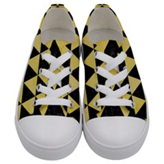 Triangle3 Black Marble & Yellow Watercolor Kids  Low Top Canvas Sneakers