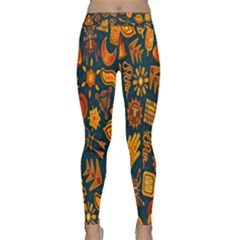 Tribal Ethnic Blue Gold Culture Classic Yoga Leggings