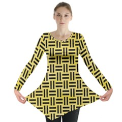 Woven1 Black Marble & Yellow Watercolor Long Sleeve Tunic