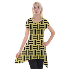 Woven1 Black Marble & Yellow Watercolor Short Sleeve Side Drop Tunic