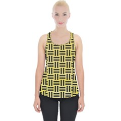 Woven1 Black Marble & Yellow Watercolor Piece Up Tank Top