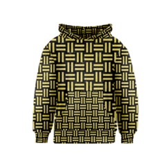 Woven1 Black Marble & Yellow Watercolor (r) Kids  Pullover Hoodie