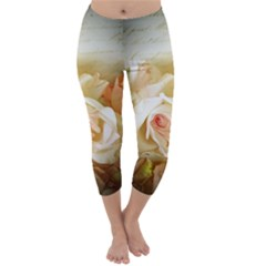 Roses Vintage Playful Romantic Capri Winter Leggings