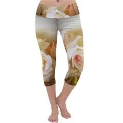 Roses Vintage Playful Romantic Capri Yoga Leggings