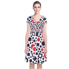 Square Objects Future Modern Short Sleeve Front Wrap Dress