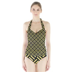 Woven2 Black Marble & Yellow Watercolor (r) Halter Swimsuit