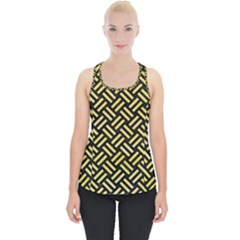Woven2 Black Marble & Yellow Watercolor (r) Piece Up Tank Top
