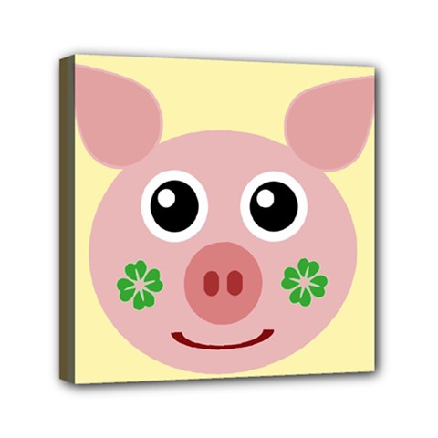 Luck Lucky Pig Pig Lucky Charm Mini Canvas 6  X 6
