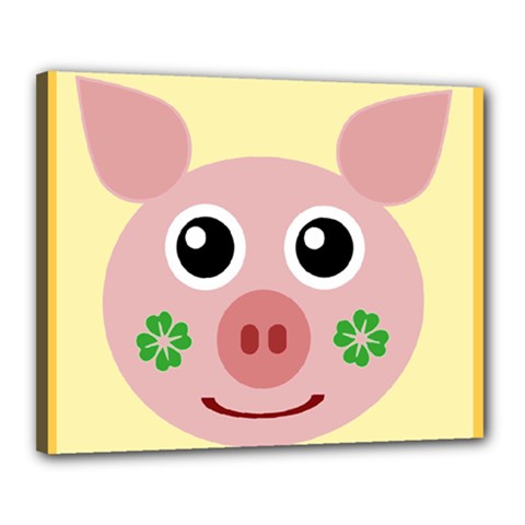 Luck Lucky Pig Pig Lucky Charm Canvas 20  X 16