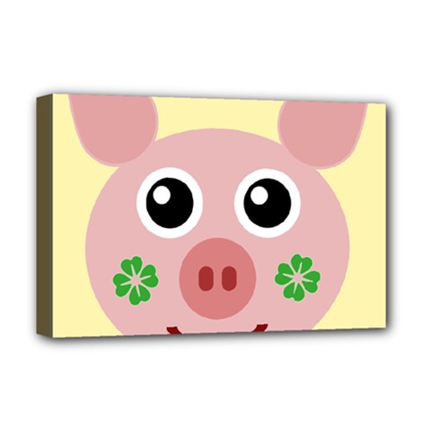 Luck Lucky Pig Pig Lucky Charm Deluxe Canvas 18  X 12
