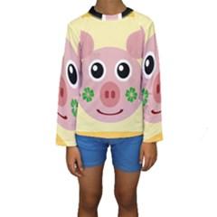Luck Lucky Pig Pig Lucky Charm Kids  Long Sleeve Swimwear