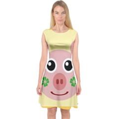 Luck Lucky Pig Pig Lucky Charm Capsleeve Midi Dress