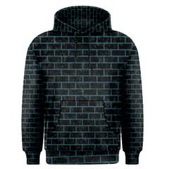Brick1 Black Marble & Teal Leather (r) Men s Pullover Hoodie