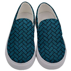 Brick2 Black Marble & Teal Leather Men s Canvas Slip Ons