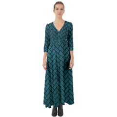 Brick2 Black Marble & Teal Leather Button Up Boho Maxi Dress