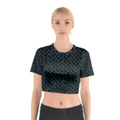 Brick2 Black Marble & Teal Leather (r) Cotton Crop Top