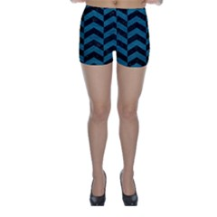 Chevron2 Black Marble & Teal Leather Skinny Shorts