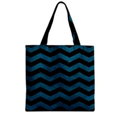Chevron3 Black Marble & Teal Leather Zipper Grocery Tote Bag